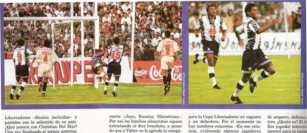 Febrero de 1998: Alianza derrota a la 'U' en Arequipa con un golazo de tiro libre de Jayo (Recorte: Once Nº 35 pp. 10-11)