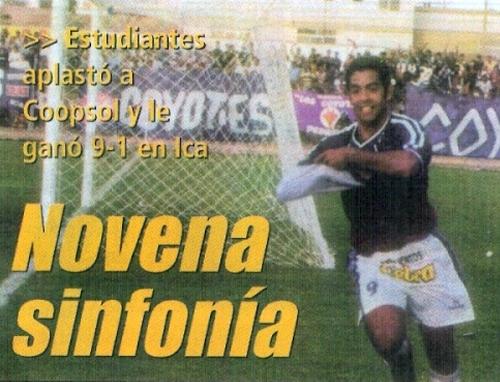 La celebración de Milton Marquillo luego de anotar uno de sus dos goles en el 9-1 que le encajó Estudiantes de Mecicina al Coopsol (Recorte: diario El Bocón)
