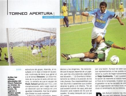 Junio de 2002: Palacios anota ante Wanka el que hasta esta noche era su último gol con la celeste (Recorte: El Gráfico Perú, N° 1072 p. 12)