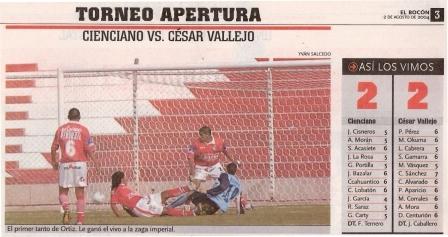 Agosto de 2004: Cristian Ortiz convierte el primero de los dos goles que le marcó a Cienciano en el Cusco vistiendo la camiseta de César Vallejo, actuación que le valió para ser luego fichado por el cuadro rojo (Recorte: El Bocón, 02/08/04 p. 3)
