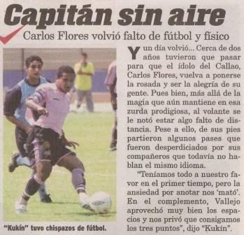 Su último regreso al puerto: en el Apertura 2004 frente a Vallejo (Recorte: diario Líbero, 12/04/04 p. 7)