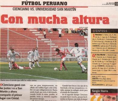 Octubre de 2005: última victoria de Cienciano sobre San Martín en el Cusco, con este gol de Sergio Ibarra (Recorte: El Bocón, 21/03/05 p. 13)