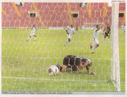 Gol de Pedro García para darle el triunfo a San Martín en la UNSA ante Melgar por el Apertura 2006 (Recorte: diario El Bocón)