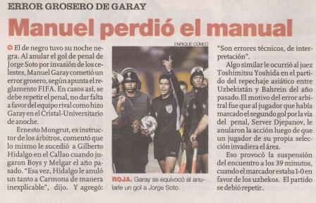Manuel Garay cometió un grave error en un encuentro en el 2006 (Recorte: diario El Comercio, suplemento Deporte Total, 27/02/06 p. 4)