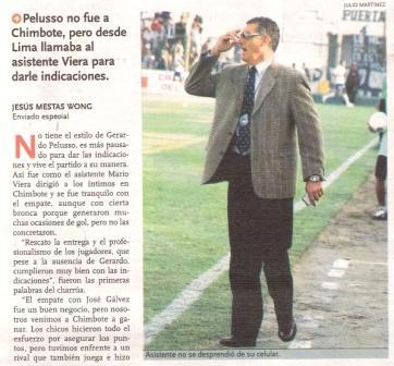 Mario Viera en el Manuel Gómez Arellano de Chimbote cuando debió reemplazar a Gerardo Pelusso como DT de Alianza (Recorte: diario El Bocón, 16/10/06 p. 4)