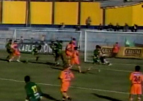 Gol de Leonardo Aguilar para darle el triunfo 1-0 a Sport Áncash sobre Atlético Minero en el Rosas Pampa por el Apertura 2008. (Captura: ATV)