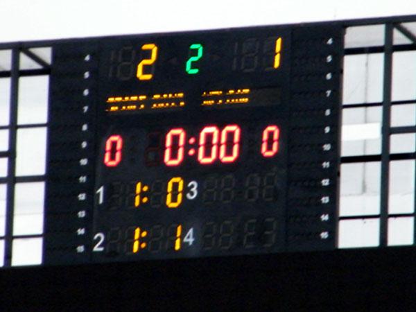 EL MARCADOR FINAL. Así lució la pantalla del Miguel Grau al finalizar los noventa minutos.(Foto: Wagner Quiroz / DeChalaca.com)