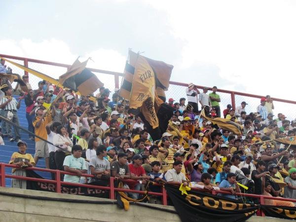 LA BARRA. En su debut en Primera División, los hinchas de Cobresol se hicieron sentir en el estadio 25 de noviembre. Su aliento se escuchó durante los noventa minutos. (Foto: Roice Zeballos)