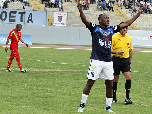La fortuna le sonrió plenamente a la Vallejo, que le dio una mano de goles a Sport Huancayo, siendo el 'Pana' Tejada autor del tanto que cerró el marcador (Foto: diario La Industria de Trujillo)