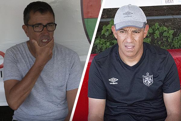 Los dibujos de Vivas y Bustos -una vez más sustituido en el banquillo por el 'Pepe' Albornoz, quien aparece a la derecha- no cambiaron. (Foto: Emilio Ruiz / DeChalaca.com)