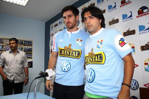 Nicolas Ayr y Jorge Cazulo. ¿Serán los refuerzos idoneos para que Cristal recupere perotagonismo y pelee el título? (Foto: prensa Sporting Cristal)