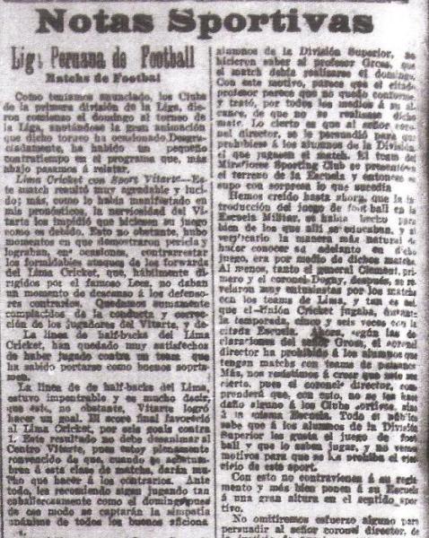 Documento histórico: la primera crónica de un partido de fútbol oficial disputado en el Perú. (Recorte: diario La Prensa)
