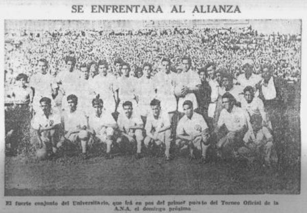 El equipo crema que selló la racha ante Alianza en 1945 (Recorte: diario La Prensa)