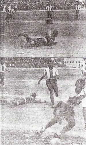 Doble escena del gol de Somocurcio: Legario vencido por el bote extraño y el ariete edil, abajo, recogiendo el balón de la red con la boca henchida de gol y título. (Recortes: diario La Crónica)