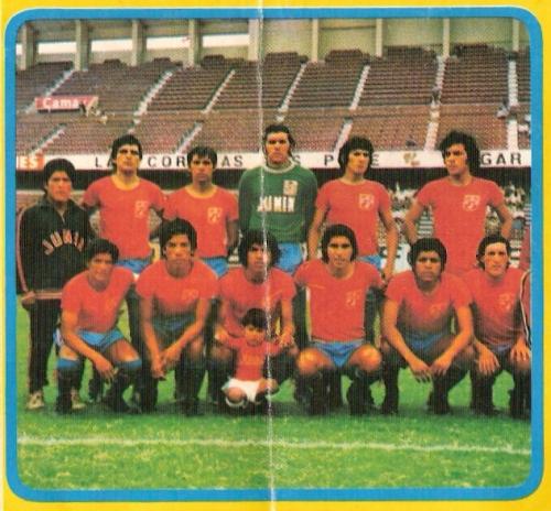 El Junín de 1974, único equipo huancaíno en haber ascendido vía Copa Perú, también usaba camisetas rojas en su temporada de estreno en Primera, como hará Sport Huancayo (Foto: álbum Descentralizado 1974, Editorial Navarrete)