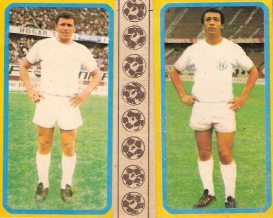 Cruzado y Calatayud, dos grandes que supieron vestir la camiseta cañetana (Cromos: álbum Descentralizado 1974, Editorial Navarrete)