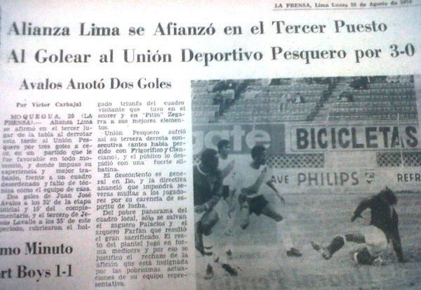 Recorte que hace referencia a la victoria de Alianza Lima ante Unión Pesquero en 1974. Aquel encuentro se habría jugado en Moquegua, más no en Ilo (Recorte: diario La Prensa)