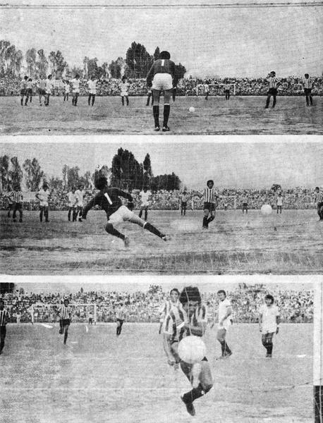 Secuencia del gol de penal de Walter Escobar ante Universitario, que puso el 1-0 parcial en la fecha 30 del Descentralizado 1976 (Recorte: revista Ovación)