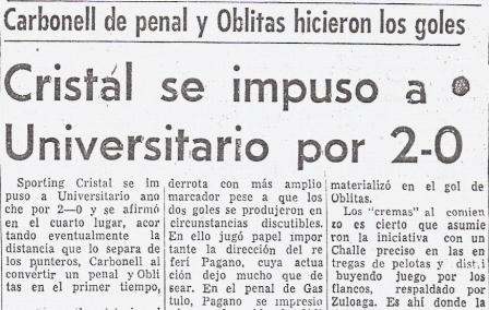 Titular del diario El Comercio que da cuenta del primer triunfo de Oblitas sobre la 'U' con camiseta de Cristal (Recorte: diario El Comercio, 06/11/77 p. 52)