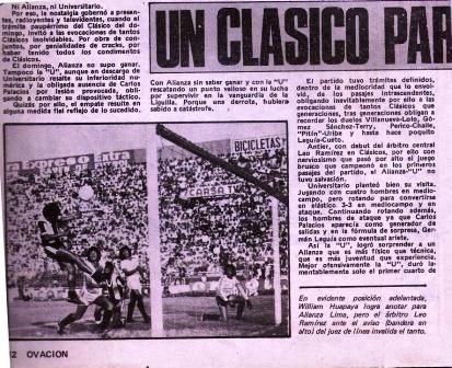 Diciembre de 1979: César Adriazola, primer lateral izquierdo que marcó en un clásico, observa cómo William Huapaya marca un gol esa misma tarde en el arco crema, el cual sería anulado por el juez Leo Ramírez (Recorte: revista Ovación, Nº 185 p. 12)