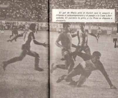 Gol de Raúl Mejía que le dio el triunfo a Alianza por 1-0 ante Aurich en la liguilla de 1982, con lo cual los íntimos obtuvieron el subcampeonato y la clasificación a Copa Libertadores (Recorte: revista Ovación)