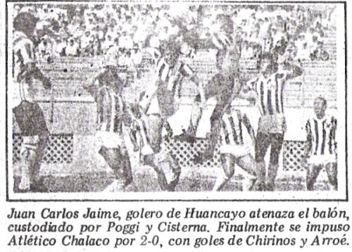 En 1983 el torneo entró en un enredo pero se llegó a realizar. Aquí un encuentro entre Atlético Chalaco y Huancayo FC (Recorte: diario La Crónica)