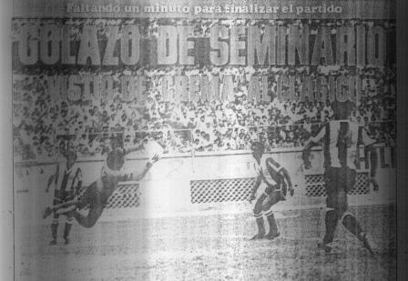 El vuelo estéril de Gonzales Ganoza ante el disparo de Seminario (Recorte: diario La Crónica, 30/06/83)
