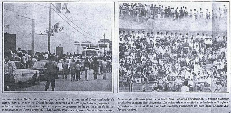El frontis de San Martín en la jornada de su re-reapertura y la tribuna Sur, hoy en desuso, con hinchas apostados en la cabecera del río Rímac (Recorte: diario La Crónica)