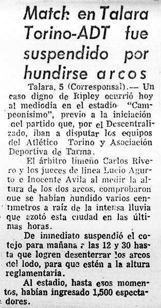 El recorte periodístico que detalla lo sucedido en el estadio Campeonísimo en 1983 (Recorte: diario El Comercio)