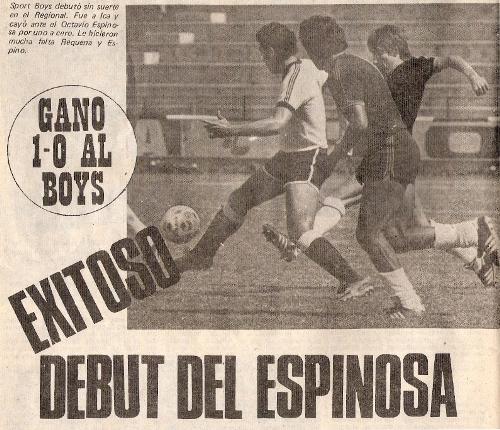 El regreso de Octavio Espinosa a la máxima categoría fue ante Boys en el Regional 1984 (Recorte: revista Ovación)
