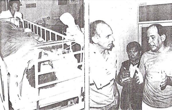 Se puede apreciar a Boné en camilla luego de ser operado de la fractura y al doctor que realizó la intervención (Recorte: diario El Comercio)