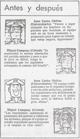 Columna de la época que cita las declaraciones de Oblitas y Company antes y después de su primer enfrentamiento como técnicos (Recorte: diario El Comercio, suplemento Deporte Total, 03/07/87 p. 9)