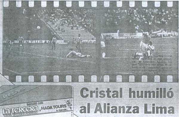 El Alianza de 1987 la pasó muy mal en la primera mitad del año. En la secuencia, un gol anotado por Miguel Seminario en la goleada de 0-4 que consiguió Cristal sobre los íntimos en Matute, por el Regional Metropolitano (Recorte: diario La Tercera)