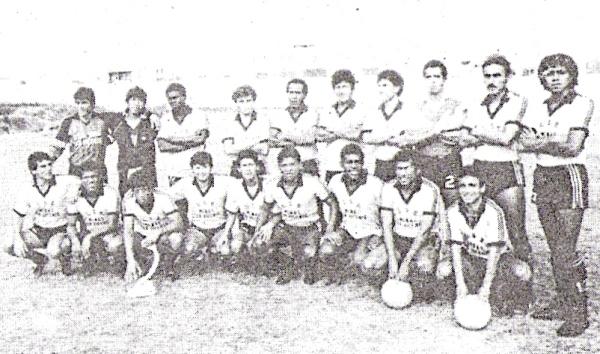 Minas San Vicente, otro equipo que militó en Primera y que contó con el apoyo de una empresa Minera. Acá, en la recordada campaña de 1989 (Recorte: revista Ovación)