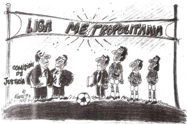 Caricatura que ilustra el problema entre Internazionale y la Región Metropolitana, luego de que la Comisión de Justicia se negara a devolverle los puntos de su partido ante Octavio Espinosa (Recorte: diario La Tercera)
