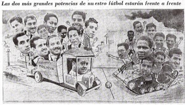 El epígrafe de la curiosa composición fotográfica, en la que aparecen los ediles en un camión municipal y los rosas sobre un tanque de guerra, es elocuente: Boys y 'Muni' eran, en 1951, las dos grandes potencias del fútbol peruano (Recorte: diario La Prensa)