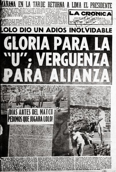 La portada del diario La Crónica luego del triunfo crema y el recuerdo de la campaña que hizo posible la despedida de 'Lolo' (Recorte: diario La Crónica)