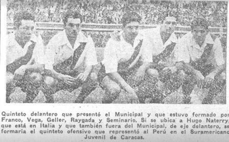 Franco, Vega, Geller, Raygada y Seminario conformaron el quinteto ofensivo que alineó Muni ante Cristal (Recorte: La Crónica, 31/08/56 tercera edición p. 10)