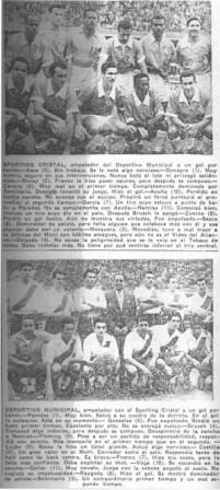 Fotografías de las alineaciones de Cristal y Muni la tarde de su primera confrontación (Recorte: La Crónica, 31/08/56 tercera edición p. 4)