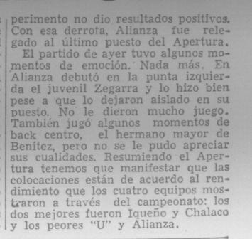 Pedacito de historia: la primera mención periodística a Víctor 'Pitín' Zegarra en la crónica del clásico de 1958 (Recorte: diario La Crónica, 30/06/58)
