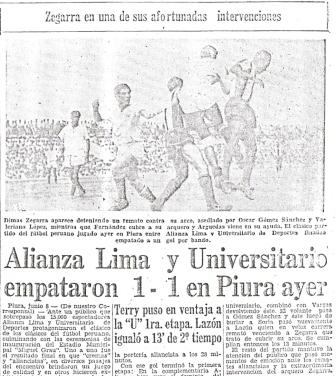 Junio de 1958: Se inaugura el estadio Miguel Grau de Piura con un clásico empatado 1-1 con goles de Terry para la 'U' y Lazón para Alianza (Recorte: El Comercio, 09/06/58 edición de la mañana p. 23)