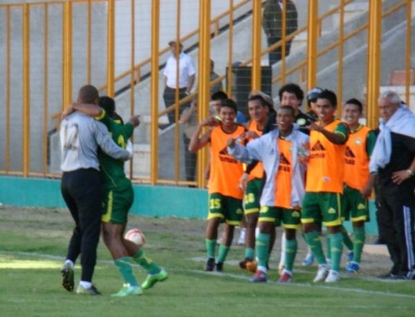 El tanto de Leonardo Mina fue el único estallido de júbilo en el cuadro local durante el partido. (Foto: Panorama Huaraz)