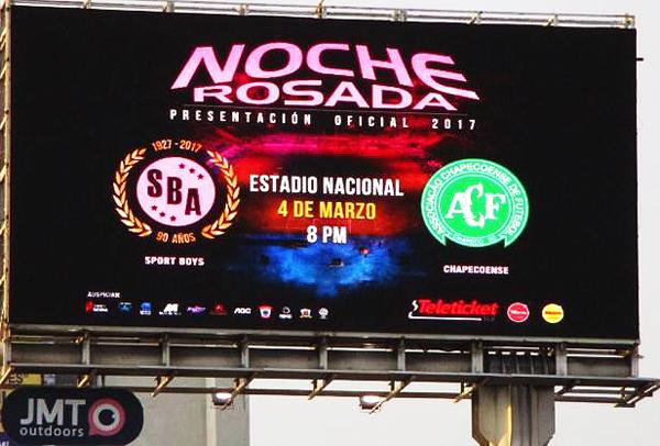 Este uno de los anuncios de la tan promocionada 'Noche Rosada' en la que Boys enfrentará al Chapecoense en el Nacional. (Foto: prensa Sport Boys)
