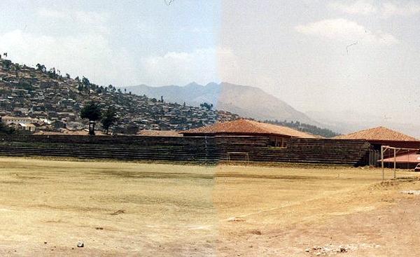 El estadio Universitario con la tribuna de piedra labrada en toda su dimensión (Foto: Ing. Víctor Manuel Chávez Gonzales)