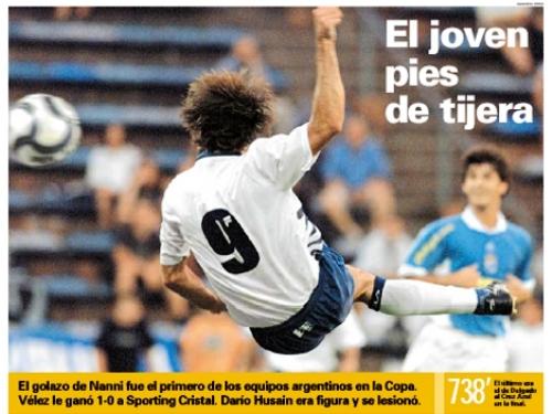 Con este golazo de tijera del velezano Roberto Nanni en 2002, Cristal había sufrido su última derrota por 1-0 en canchas argentinas por Copa Libertadores. Observa la acción Jean Ferrari (Recorte: diario Olé)