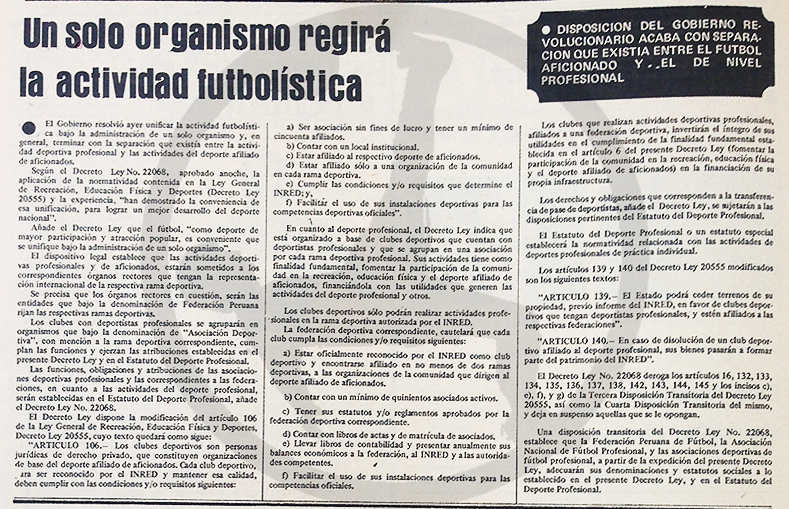 Así lo informaba el diario La Crónica: en 1978, todo estaba encaminado a que una sola entidad fuera la encargada del fútbol en el Perú. (Recorte: diario La Crónica)