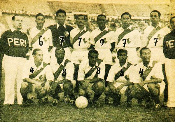 La alineación que presentó Perú ante Chile en su último partido por el Sudamericano de 1942 en Uruguay, con el técnico Ángel Fernández Roca a la izquierda y el estadio Centenario de fondo (Recorte: revista Estadio de Chile)
