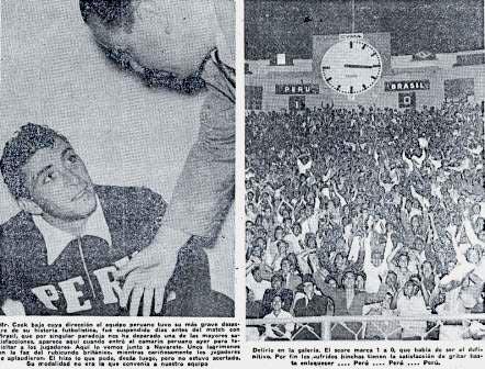 A la izquierda, Cook felicita a Navarrete por su gol a Brasil. A la derecha, éxtasis pleno de fanáticos de los cincuenta (Recorte: La Crónica, 20/03/53 edición de la tarde p. 1)