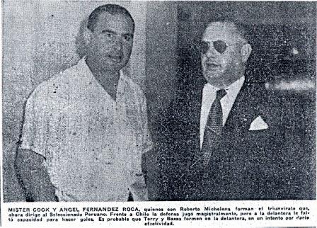 Cook y Fernández Roca, la dupla técnica de Perú en el Sudamericano del 53, tuvieron múltiples desencuentros (Recorte: La Crónica, 06/03/53 edición de la mañana p. 24)
