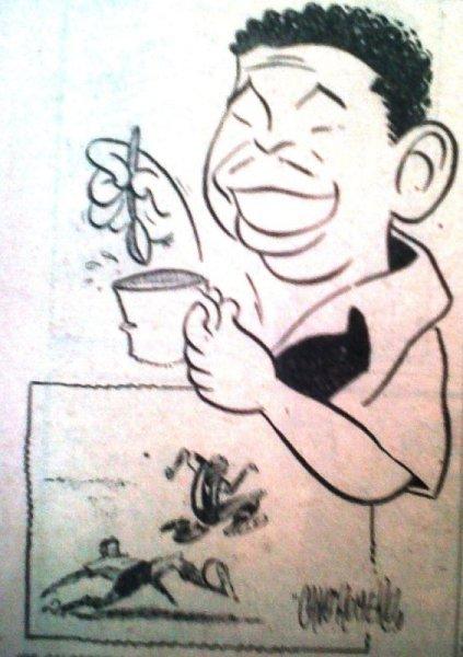 'Joe' Calderón caricaturizado antes del partido, cuando nadie presagiaba lo que ocurriría. (Recorte: diario La Crónica)